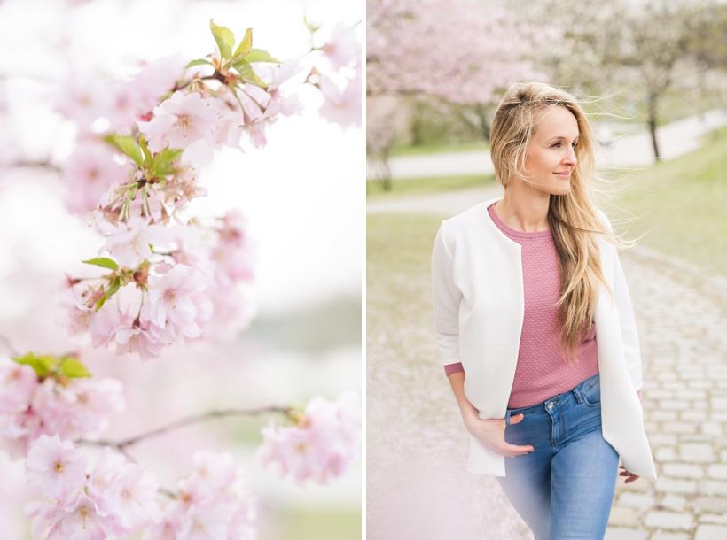 Fotoshooting mit Kirschblüten im Olympiapark München